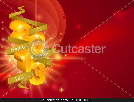 2013 Happy New Year Decorations stock vector clipart, Red Happy New Year 2013 decorations background with ribbon saying Happy New Year and gold decorations reading 2013 by Christos Georghiou