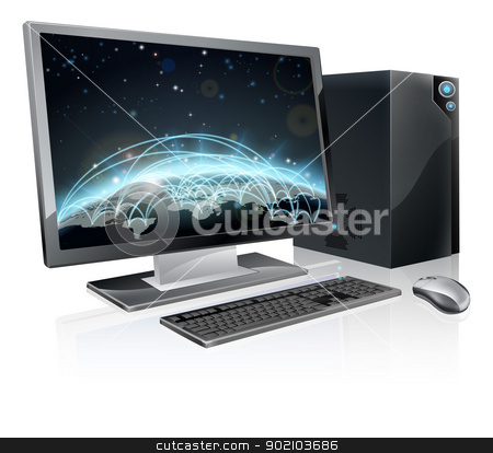 Desktop computer world globe stock vector clipart, An illustration of desktop PC computer workstation with world globe on the screen. Monitor, mouse keyboard and tower by Christos Georghiou