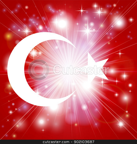Turkish flag background stock vector clipart, Flag of Turkey background with pyrotechnic or light burst and copy space in the centre by Christos Georghiou