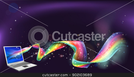 Laptop rainbow background stock vector clipart, An abstract background of laptop computer with a rainbow flowing out of it by Christos Georghiou