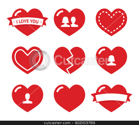 Love hearts icons set for Valentines Day stock vector clipart, Red hearts vector icons set - love, relationship, couples by Agnieszka Murphy