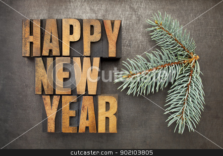 Happy New Year in wood type stock photo, Happy New Year! - text in vintage letterpress wood type blocks on a grunge metal background with a branch of Colorado silver spruce by Marek Uliasz