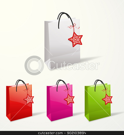 paper bags stock vector clipart, Set of different paper bags  by Miroslava Hlavacova