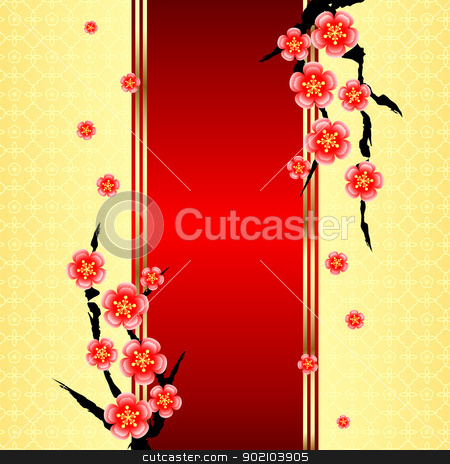 Chinese New Year Greeting Card stock vector clipart, Chinese New Year Greeting Card with Cherry Blossom by meikis