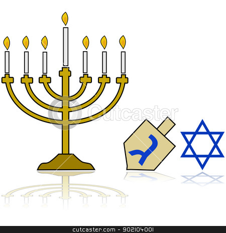 Hanukkah stock vector clipart, Cartoon illustration showing a Jewish Hanukkah Menorah, alongside a traditional spinning top and the star of David, reflected on a white background by Bruno Marsiaj