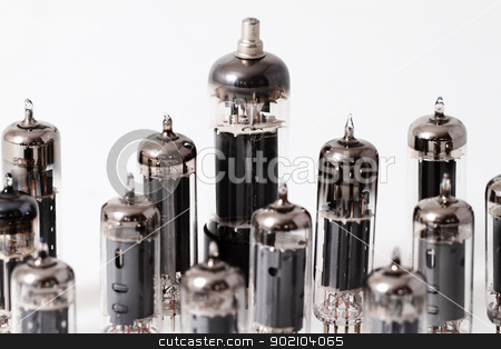 Glass vacuum radio tubes stock photo, Glass vacuum radio tubes.  Isolated image on white background by Nneirda