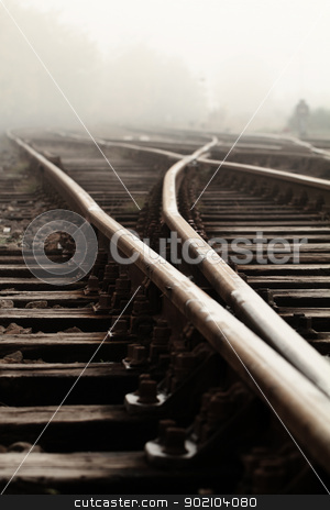 Railway in fog  stock photo, Railway in fog on station, outdoor landscape by Nneirda