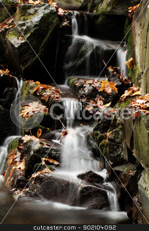 Waterfall stock photo, Waterfall in the autumn by Nneirda