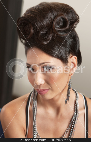 Woman in Retro Hairdo stock photo, Beautiful young woman with retro style hairdo by Scott Griessel