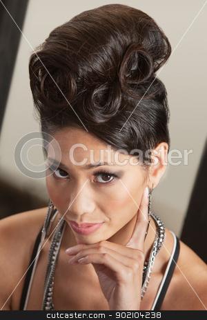 Serious Female in Retro Hairdo stock photo, Gorgeous Asian female with retro style hairdo by Scott Griessel