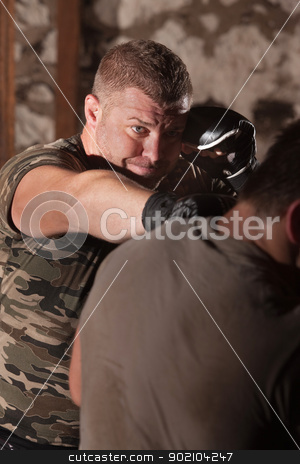 Fighter Throws Reverse Punch stock photo, Male mixed martial artists throws a reverse punch by Scott Griessel