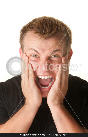 Screaming Young Man stock photo, Screaming young man with hands on cheeks over white by Scott Griessel