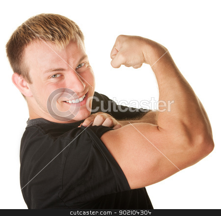 Man Flexing Biceps stock photo, Blond Caucasian man over white background flexing biceps muscle by Scott Griessel