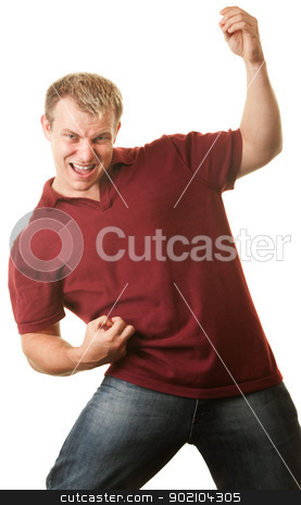 Man Playing Air Guitar stock photo, Excited young athletic man playing air guitar by Scott Griessel