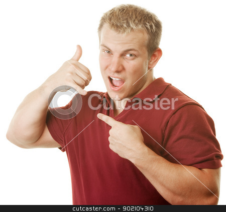 Man on Pretend Phone stock photo, Young muscular man holding pretend telephone over white background by Scott Griessel