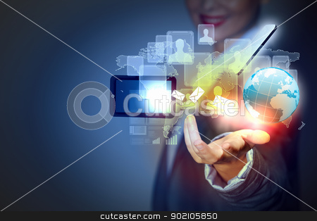 Touch screen computer device stock photo, Modern wireless technology illustration with a computer device by Sergey Nivens