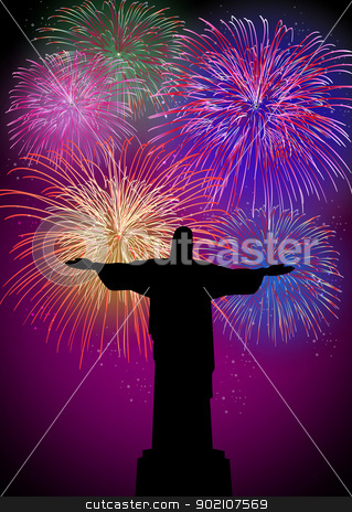 Happy New Year fireworks in Rio Brazil stock vector clipart, Happy New Year fireworks Rio de janeiro city with christ the redeemer silhouette night scene. EPS10 vector with transparencies  layered for easy manipulation and customisation. by Cienpies Design
