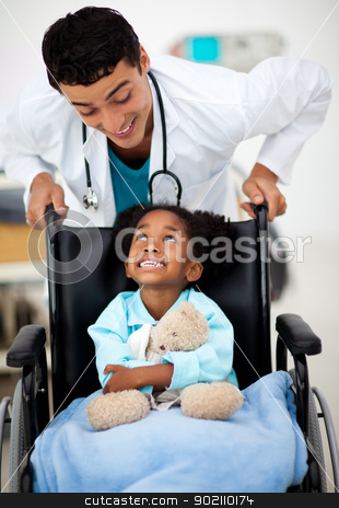 Young Doctor with a sick child  stock photo, Young Doctor helping a sick child  by Wavebreak Media