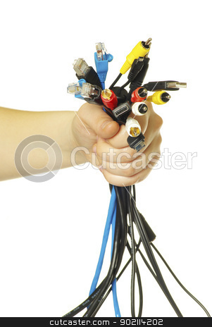 cables in hand stock photo, Computer cables in hand isolated on white background by Vitaliy Pakhnyushchyy