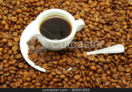 white cup with coffee  stock photo, white cup with coffee costing on a coffee grain by Vitaliy Pakhnyushchyy