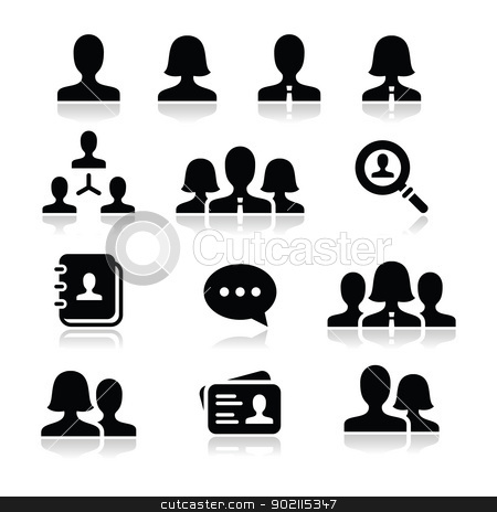 Man woman user vector icons set stock vector clipart, Modern simple black icons set - businessman, businesswoman, workers by Agnieszka Bernacka
