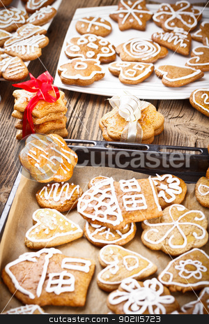 delicious gingerbreads stock photo, Lots of delicious gingerbreads on plate by Grafvision