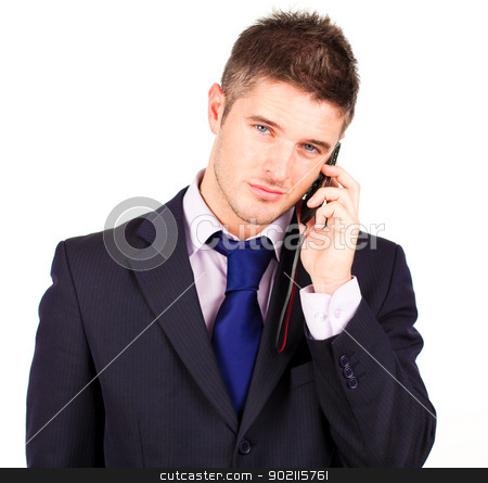 businessman talking on phone  stock photo, Young attractive businessman talking on his cellphone by Wavebreak Media