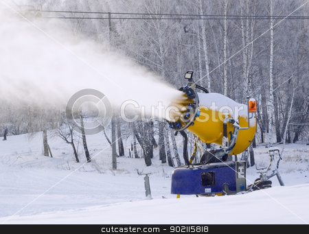 Working snowgun stock photo, Snowgun making snow at mountain skiing center by Aikon