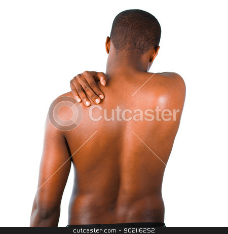 Man with backpain stock photo, Young man with back pain isolated on white by Wavebreak Media