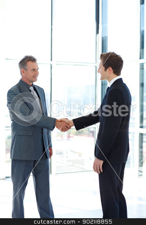 Businessmen shaking hands stock photo, Businessmen shaking hands in agreement by Wavebreak Media