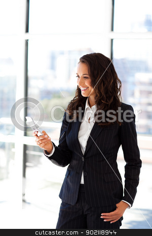 Businesswoman sending a text stock photo, Young businesswoman sending a text by Wavebreak Media