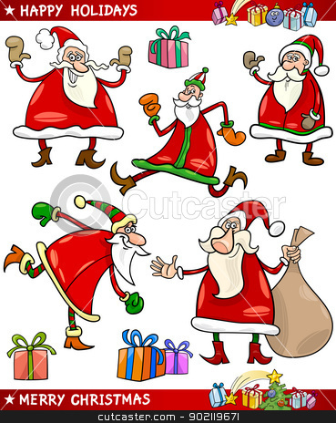 Santa and Christmas Themes Cartoon Set stock vector clipart, Cartoon Illustration of Santa Claus or Papa Noel, Presents, Gifts and other Christmas Themes set by Igor Zakowski