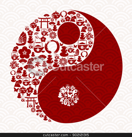 Chinese New Year of the Snake yin yang stock vector clipart, Chinese New Year of the Snake icon set yin yang composition. Vector illustration layered for easy manipulation and custom coloring. by Cienpies Design