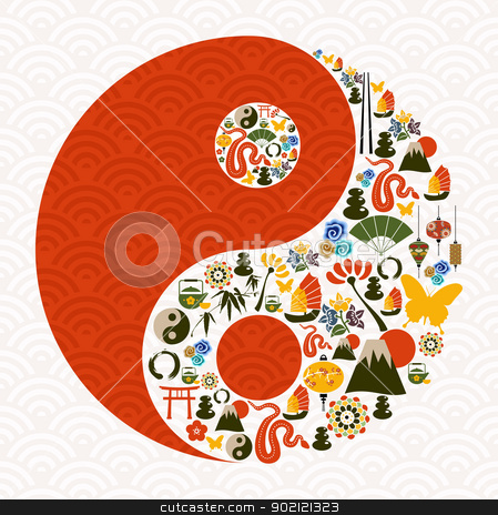Chinese New Year of the Snake yin yang stock vector clipart, Chinese New Year of the Snake yin yang symbol composition. Vector illustration layered for easy manipulation and custom coloring. by Cienpies Design