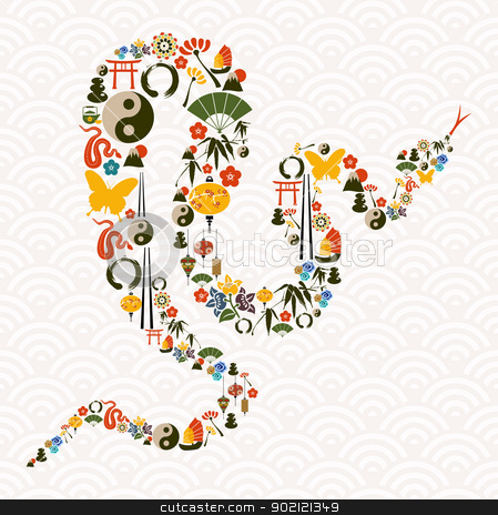 Chinese New Year of the Snake stock vector clipart, Chinese New Year of the Snake icon set composition background. Vector illustration layered for easy manipulation and custom coloring. by Cienpies Design