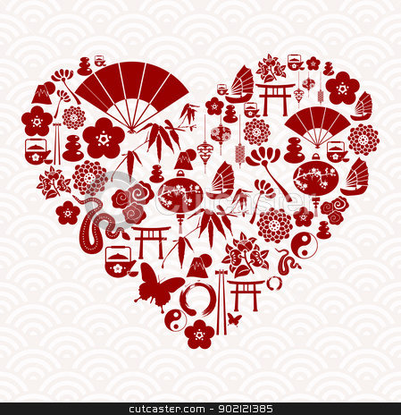 Chinese New Year of the Snake love stock vector clipart, Chinese New Year of the Snake icon set heart composition background. Vector illustration layered for easy manipulation and custom coloring. by Cienpies Design