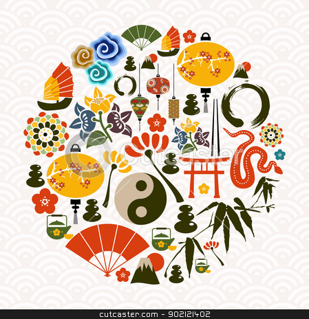 Chinese New Year of the Snake circle stock vector clipart, Chinese New Year of the Snake icon set globe composition. Vector illustration layered for easy manipulation and custom coloring. by Cienpies Design