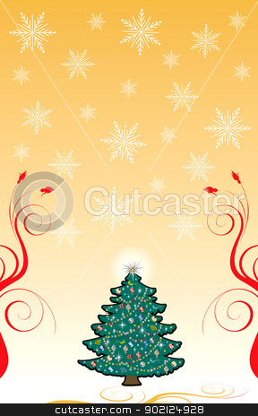 Christmas Background 6 stock photo, Vector Illustration of a Christmas Tree and snowflake background for Christmas Background 6. by Basheera Hassanali