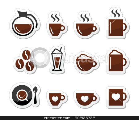 Coffee icons on labels set stock vector clipart, Brown coffee icons set - coffee beans, mug, cup, types of coffee by Agnieszka Murphy