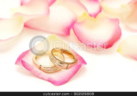 rings  stock photo, Wedding rings on a red rose petal by Vitaliy Pakhnyushchyy