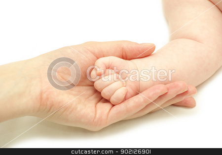 baby hand  stock photo, Baby hand holding mother finger isolated on white by Vitaliy Pakhnyushchyy