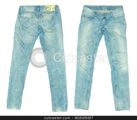 jeans stock photo,  blue jeans isolated on white by Vitaliy Pakhnyushchyy
