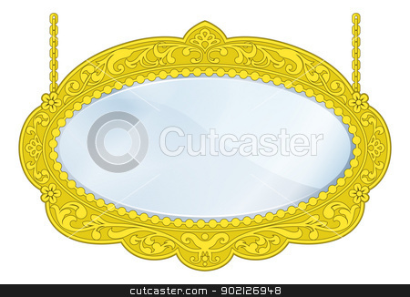 Fancy Boutique Mirror stock vector clipart, Illustration of a fancy boutique mirror with gold frame and lots of copy-space in the centre by Christos Georghiou