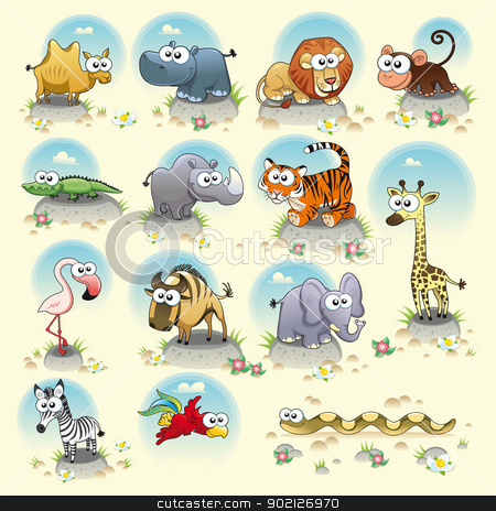 Savannah animals. stock vector clipart, Savannah animals. Funny cartoon and vector characters. Isolated objects by ddraw