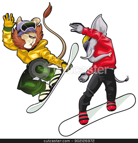 Savannah animals on snowboard. stock vector clipart, Savannah animals on snowboard. Vector isolated characters. by ddraw