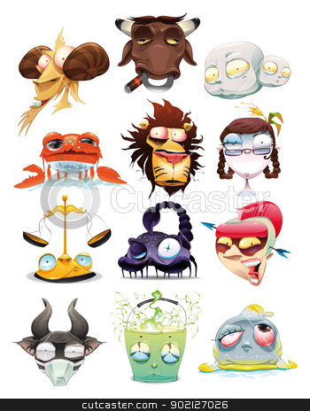 Funny Zodiac. stock photo, Funny Zodiac. Cartoon and vector illustration, isolated objects by ddraw