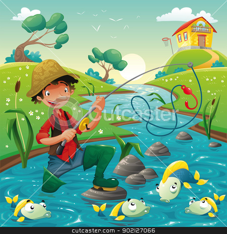 Cartoon scene with fisherman and fish. stock vector clipart, Cartoon scene with fisherman and fish. Vector illustration, isolated objects by ddraw