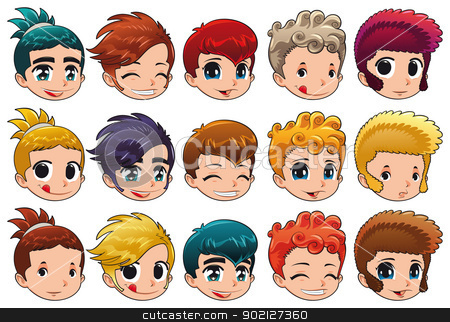 Group of faces with different expressions and hair. stock vector clipart, Group of faces with different expressions and hair. Cartoon and vector isolated objects. by ddraw