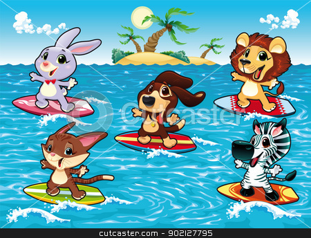 Funny animals are surfing in the sea. stock vector clipart, Funny animals are surfing in the sea. Cartoon and vector illustration, isolated objects. by ddraw