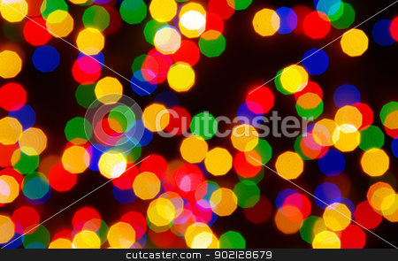 christmas lights stock photo, Abstract christmas lights as background on black by Vitaliy Pakhnyushchyy